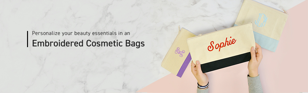 Personalized Embroidered Cosmetic Bags