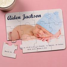 Boy Birth Announcement Invitation Puzzle