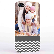 Personalized Grey Chevron Pattern iPhone 4 Hard Case Cover