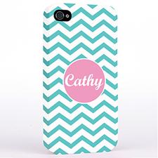 Personalized Aqua Chevron iPhone 4 Hard Case Cover