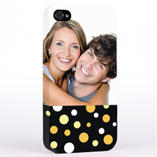 Personalized Glamorous Polka Dots Photo iPhone 4 Hard Case Cover