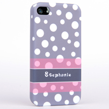 Personalized Grey Polka Dots Pattern iPhone 4 Hard Case Cover