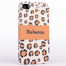 Personalized Leopard Pattern Monogrammedmed iPhone 4 Hard Case Cover