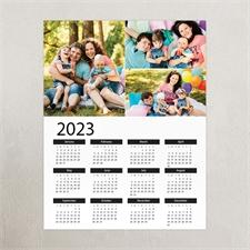 White Portrait Three Collage 11X14 Personalized Poster Calendar