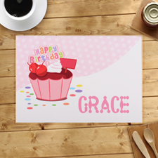Personalized Girl First Birthday Cupcake Placemats