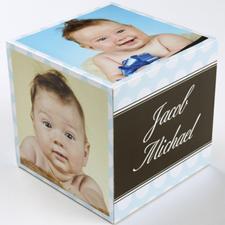 Polka Dots Baby Boy Birth Announcement Wood Photo Cube, 5 panels