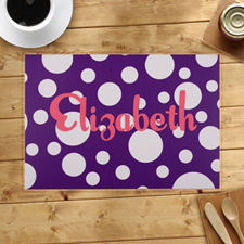 Personalized Purple Polka Dots Placemats
