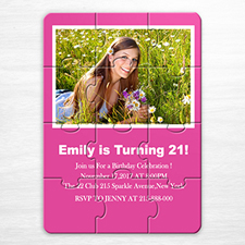 Personalized Hot Pink Sweet Sixteen Birthday Puzzle Invite