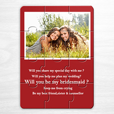 Personalized Red Wedding Photo Puzzle Invite