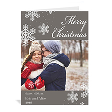 Personalized Snowy Holiday Grey Christmas Card