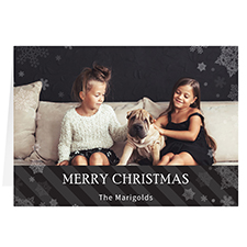 Let it Snow Black Personalized Christmas Greeting Card