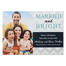 Personalized Glitter Married And Bright Personalized Photo Christmas Invitation Cards