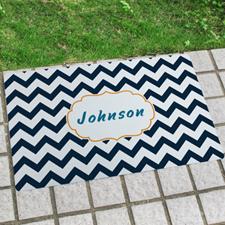 Black White Chevron Personalized Name Door Mat