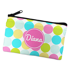 Pink Colorful Large Dots Personalized Cosmetic Bag