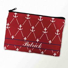 Custom Printed Red White Anchor Zipper Bag