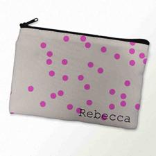 Custom Printed Fuchsia Natural Polka Dots Zipper Bag