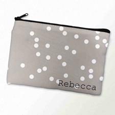 Custom Printed White Natural Polka Dots Zipper Bag