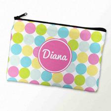 Custom Printed Pink White Large Dots Zipper Bag
