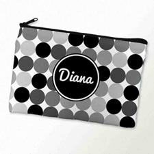 Custom Printed Black White Large Dots Zipper Bag