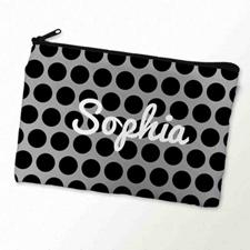 Custom Printed Black Grey Large Dots Zipper Bag