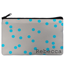 Custom Design Your Own Turquoise Natural Polka Dots Makeup Bag (5 X 8 Inch)