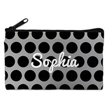 Custom Design Your Own Black Grey Large Dots Makeup Bag (5 X 8 Inch)