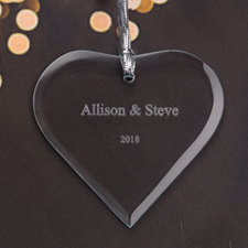 Personalized Engraved Our Wedding Heart Shaped Ornament