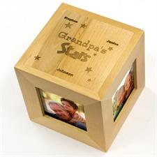 Engraved My Stars Wood Photo Cube