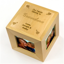 Engraved Our Hearts Belong To You Wood Photo Cube