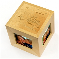 Engraved Our Hearts Wood Photo Cube