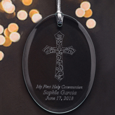 Personalized Laser Etched I Thank God Glass Ornament
