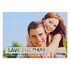 Personalized Glitter Silver Simple Day Personalized Photo Save The Date Save The Date Invitation Cards