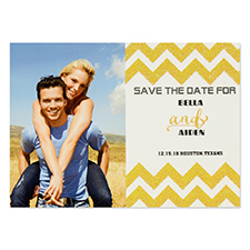 Personalized Gold Glitter Chevron Save The Date Invitation Cards