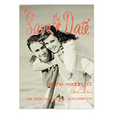 Personalized Red Glitter Dave The Date Save The Date Invitation Cards