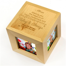 Engraved Today And Always Wood Photo Cube