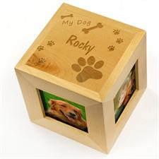 Engraved My Dog Wood Photo Cube