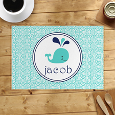 Personalized Blue Whale Placemats