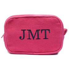 Embroidered Three Initial Fuchsia Cotton Waffle Weave Makeup Bag