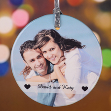 Two Hearts Together Personalized Ceramic Ornament