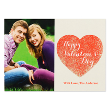 Real Glitter Love To Yours Personalized Photo Valentine Card, 5X7 Flat