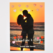 Real Glitter Hearts Personalized Photo Valentine Card, 5X7 Flat