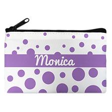 Lavender Polka Dot Personalized Cosmetic Bag