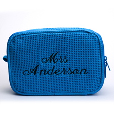 Two Text Line Embroidered Cotton Waffle Cosmetic Bag, Blue