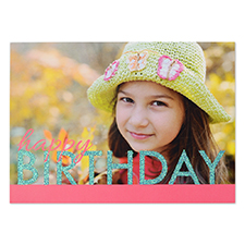Create Your Own Bold Glitter Birthday Personalized Invitation Card, 5X7 Pink Aqua Announcement Cards