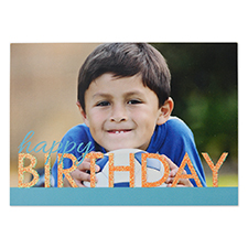 Create Your Own Bold Glitter Birthday Personalized Invitation Card, 5X7 Blue Orange Announcement Cards