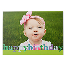 Create Your Own Glitter Happy Birthday Personalized Photo Cards, Green Announcement Cards