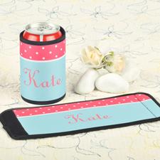Carol Aqua Polka Dot Personalized Can And Bottle Wrap