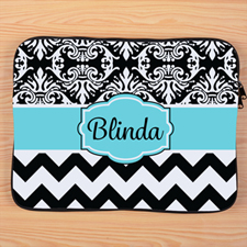 Chevron And Floral Personalized Macbook Pro 15 Sleeve (2015)