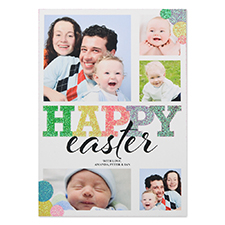 Glitter Easter Bubble Personalized Photo Card