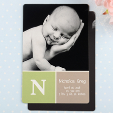 Monogrammed Personalized Photo Birth Announcement Magnet 4x6 Large